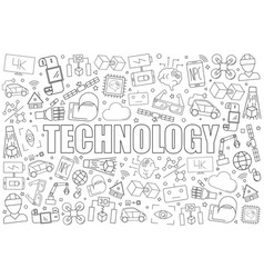 technology from line icon with word vector image