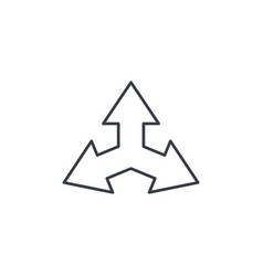 Three-way direction arrow thin line icon linear vector