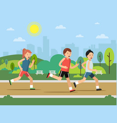 urban green park landscape with running peoples vector image