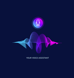 voice assistant which thin line sound wave vector image