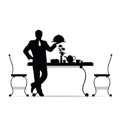 Waiter silhouette with food vector