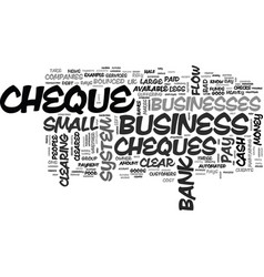 Why bounced cheques mean bad business text word vector