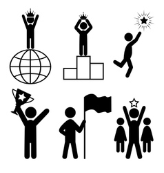 Win leader people flat icons pictogram isolated on vector