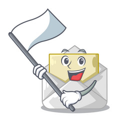 with flag envelope opened on shape white mascot vector image