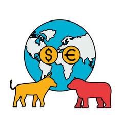 world bull bear trade coins stock market vector image