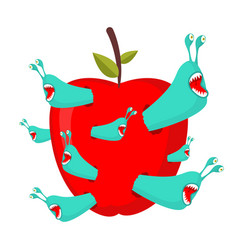 Worms eat red apple parasites pests in fruit vector