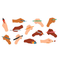 writing tools in hand pen pencil stylus felt vector image