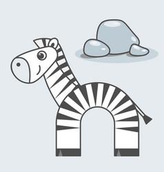 zebra cartoon style art for kids vector image