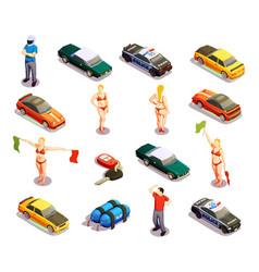 automobile racing icon set vector image