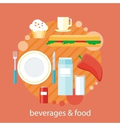 Beverages and Food Design Flat vector image vector image