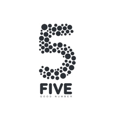 Black and white number five logo template made of vector image