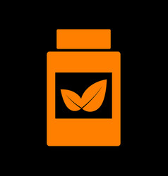 supplements container sign orange icon on black vector image