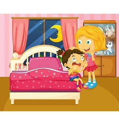 A little girl crying beside her sister inside the vector image vector image