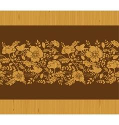 Birds among flowers wooden horizontal seamless vector image