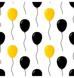 Black and gold party balloons seamless pattern vector image vector image