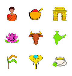Indian lotus icons set cartoon style vector