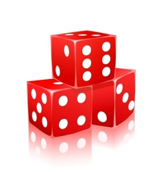 red dice with white dots in ctack vector image