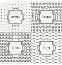 Set of hand drawn line ink seamless pattern with vector image