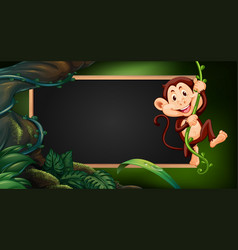 border template wtih monkey on vine vector image vector image