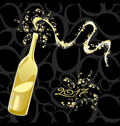 celebrating the new year bubbly bottle vector image