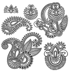 Flowers and paisley design element vector