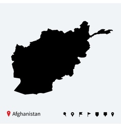 High detailed map of Afghanistan with navigation vector image vector image
