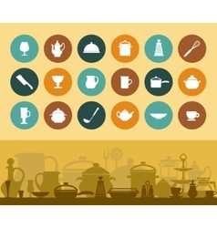 Icons and banner cookware and tableware vector image