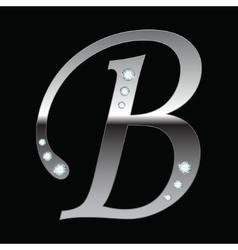 silver metallic letter B vector image