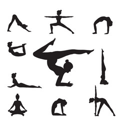 women yoga poses silhouettes vector image