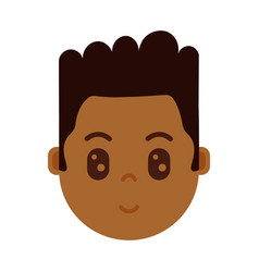 African boy head with facial emotions avatar vector