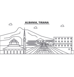 Albania tirana architecture line skyline vector