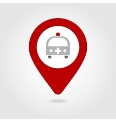 Ambulance map pin icon vector