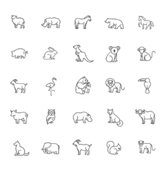 animal icons Zoo line icons Animal vector image