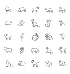 Animal icons zoo line icons vector