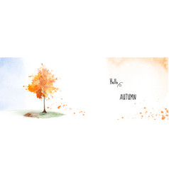Autumn banner background with a tree vector