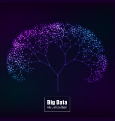 Big data visualization glowing tree vector