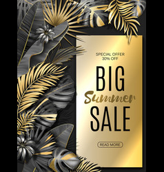 Big sale vertical banner summer sale tropical vector