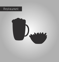black and white style icon glass of beer and nuts vector image