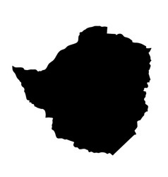 Black silhouette country borders map of zimbabwe vector