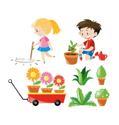 boy and girl with different plants vector image