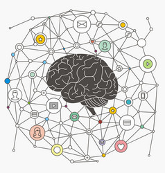 Brain and internet vector