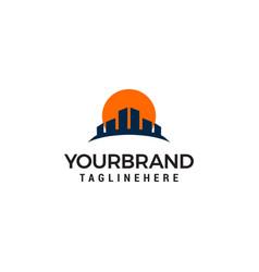 building sun real estate logo design template vector image