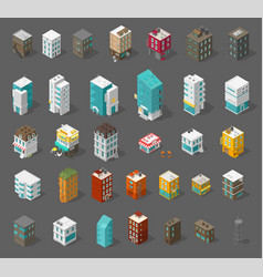 buildings city set isometric top view separate vector image