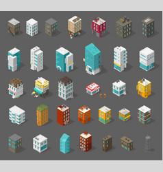 Buildings city set isometric top view separate vector