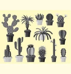 Cactus flat style nature desert flower monochrome vector