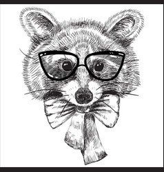cartoon cute animal in glasses and bow tie vector image