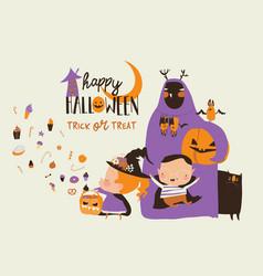 cartoon happy children trick or treating vector image