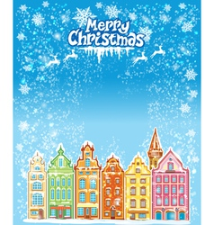 Christmas and New Year holidays card with snowy vector image