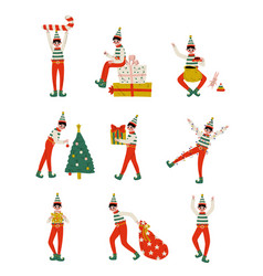christmas elf characters set cute boys santa vector image