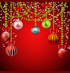 christmas red background with decorations vector image vector image